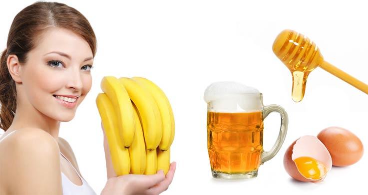 Маска для волос с бананом мед яйцо пиво