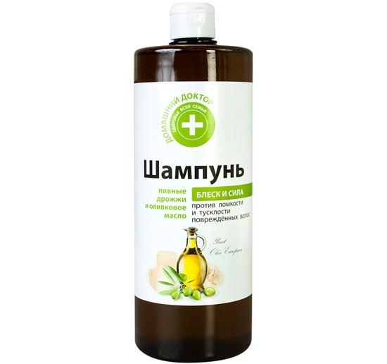 Шампунь «Домашний доктор» пивные дрожжи и оливковое масло против тусклости