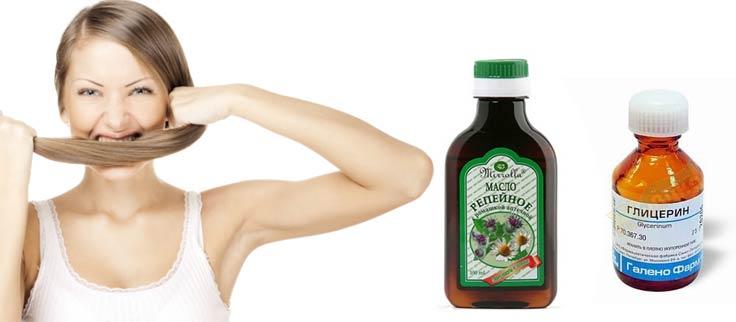Укрепления и питания волос репейное масло глицерин