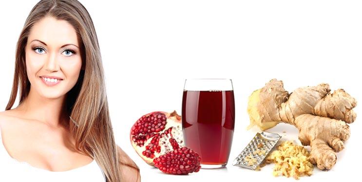 Гранатовый сок и имбирь для роста волос маска
